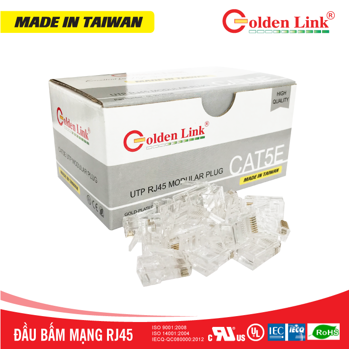 Đầu bấm mạng Golden Link RJ45 UTP CAT5e Made in Taiwan